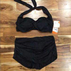 Catalina retro high waisted shirred bikini set